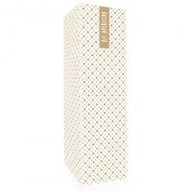 Caja diseño trama dorada  y adhesivo genérico
